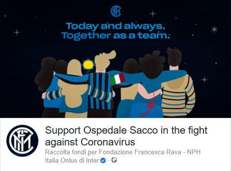 Inter raccoglie 658mila euro con campagna #TogetherAsATeam, fondi al Sacco