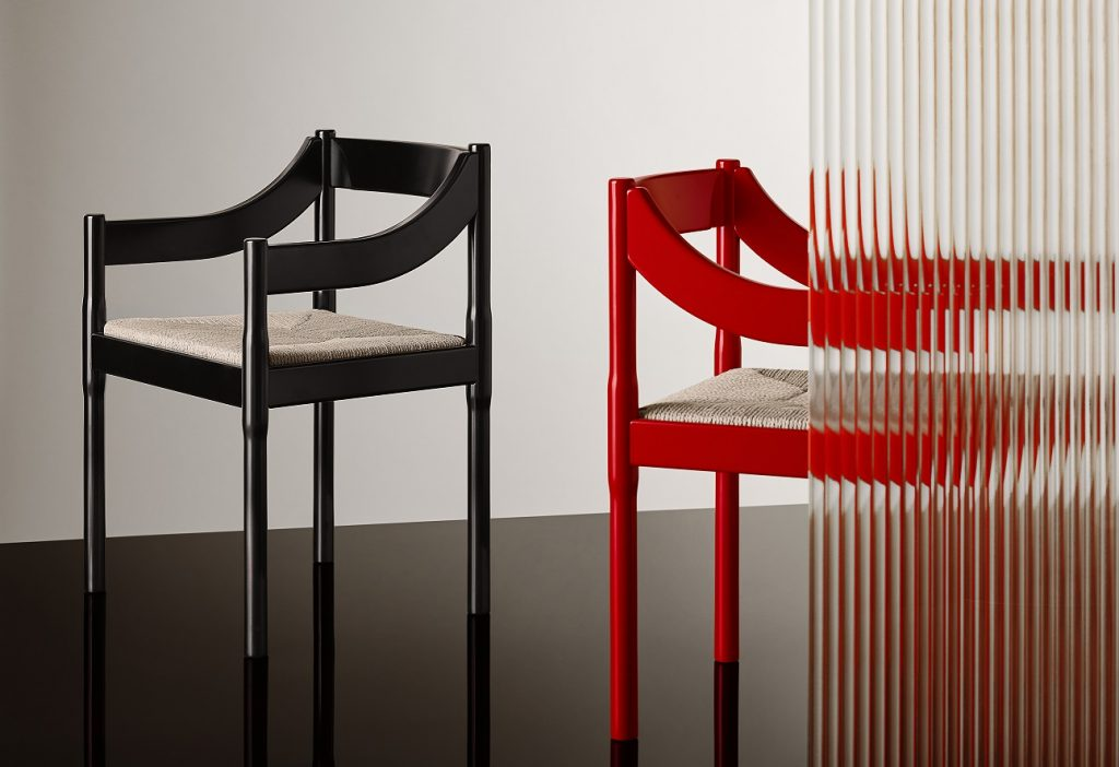 The Carimate chair of Vico Magistretti re-proposed by Fritz Hansen for the centenary of the birth
