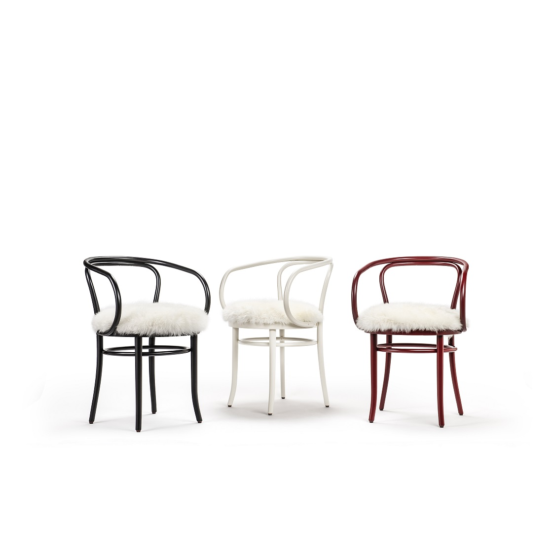 Gebrüder Thonet Vienna's Wiener Stuhl chairs and the Furia rocking horse are dressed in a soft furry coat